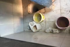 Rebuild of toilet with tile